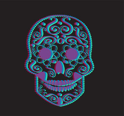 3D skull vector for fashion design, tattoos or patterns