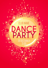 Vertical red music party background with golden graphic elements and place for text.