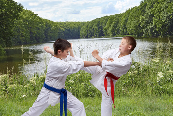 Against the background of the nature two boys are training blow arm and leg