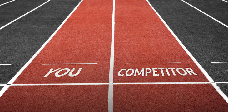 Challenge in Business or in Real Life Concept. Running Track at Stadium with You Word and Competitor Word