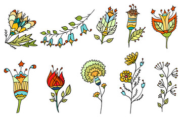 colored doodle flowers.