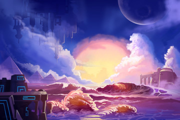 Watercolor Style Video Game Digital CG Artwork Concept Art Illustration Set 4: The Alien Planet. Realistic Fantastic Cartoon Style Character, Background, Wallpaper, Story, Card Design