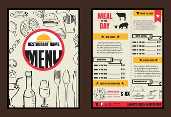 Brochure or poster Restaurant  food menu with Chalkboard Backgro