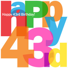 HAPPY 43rd BIRTHDAY Vector Card