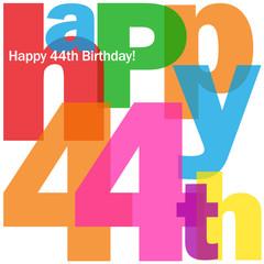 HAPPY 44th BIRTHDAY Vector Card
