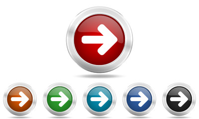 Metallic round glossy vector arrow icon set