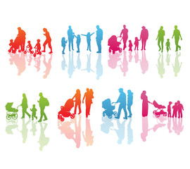 Set of Color Family Silhouettes: Men's, Women's and Children isolated on white.