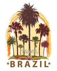 Travel Banner with Palm Trees for Brazil.