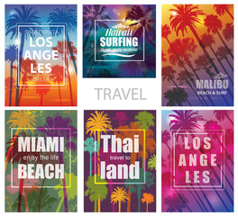 Exotic Travel Backgrounds with Palm Trees .