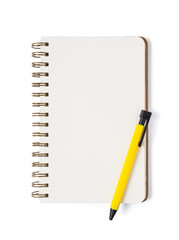 Notebook with pen on white background isolated Top view. Free sp