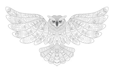 Stylized Decorative Vector Owl. Drawing for Coloring Book .