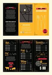 Vintage Restaurant menu design pamphlet vector template chalkboa