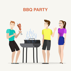 Group of friends having outdoor barbecue party, smiling and laughing.