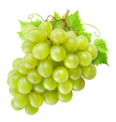 Fresh green grapes with leaves. Isolated on white. Clipping path