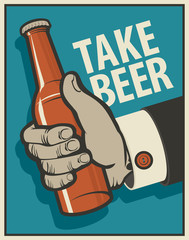 human hand with a bottle of beer in retro style