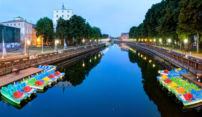 Early morning view of Danes river in the Old Town district. Klaipeda city, Lithuania.