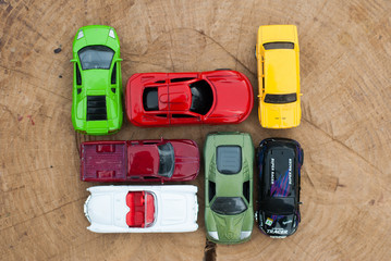 Set of various cars toys,