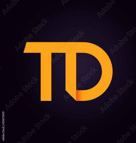 Td Two Letter Composition For Initial Logo Or Signature Stock