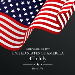 Independence Day with waving flag on dark background