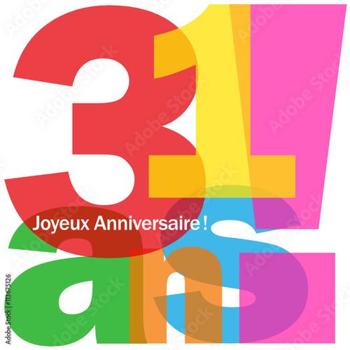 Joyeux Anniversaire 31 Ans Fichier Vectoriel Libre De Droits Sur La