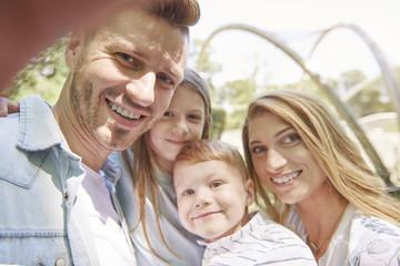 Selfie family in sunny day