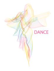 Vector illustration of fluttering airy colorful moire veil folded in a shape of walking or dancing woman silhouette in a long dress. EPS 10 vector image, easy to change colors