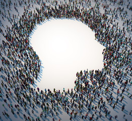 Large group of people forming a head symbol