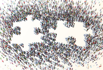 Large group of people forming a puzzle symbol
