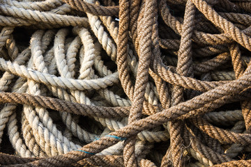 Fishing ropes, good pattern and soft sunset light on the ropes