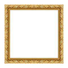 Gold picture frame isolated white background.