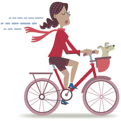 Woman riding a bike. Retro style illustration of a woman riding a bicycle with his small dog.