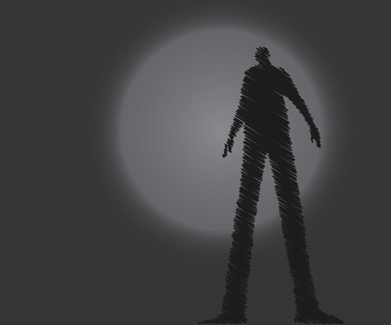 Man shadow, shadowy figure on dark background.