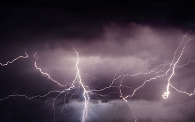 Heavy summer storm bringing thunder, lightnings and rain