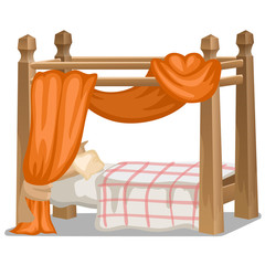 Bed with orange canopy. Interior items isolated