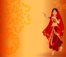 Traditional symbols of India: dancing women and Indian ornament.