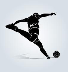 Vector silhouette kicking footballer