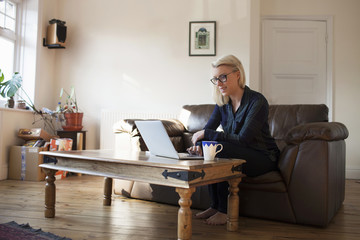 Young Female Entrepreneur Working At Home On Laptop