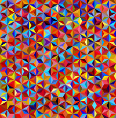 abstract background consisting of small red, yellow, blue, orange triangles