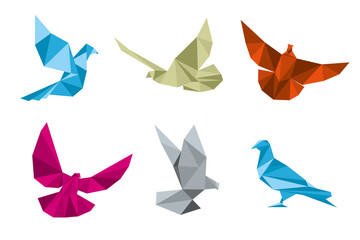 Wall Mural - Paper pigeons, doves origami vector set