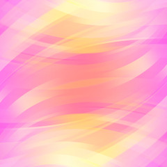 Colorful smooth light lines background. Pink, yellow colors. Vec