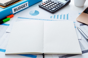 Financial and budget planning with notebook
