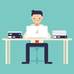 Office worker sitting at the table and working on the computer. Vector illustration