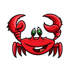 Smiling cartoon ocean red crab character