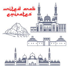 Famous tourist attractions of UAE thin line icons