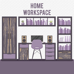 Vector illustration with home workplace in flat design.
