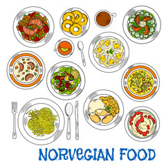 Traditional norwegian seafood and vegetable dishes
