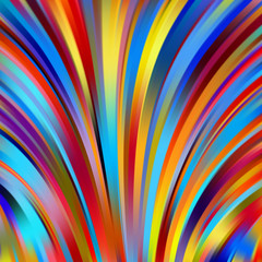 Colorful smooth light lines background. Red, blue, yellow colors