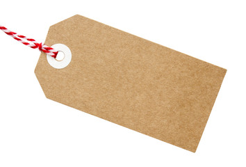 Gift Tag Brown Card With String