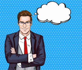 Smiling Businessman in glasses in comic style with speech bubble.Success .Worker. Concept, journalist, movie, smart, corporate, elegant, job, face, pop, glasses, man, necktie,boss,speech bubble,