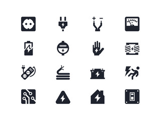 Electricity icons. Lyra series